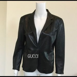 Authentic GUCCI leather lightweight blazer US10